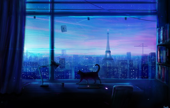 Picture cat, the city, room, window, art, skyscrapers, Lonely Night, Rico De Zoysa