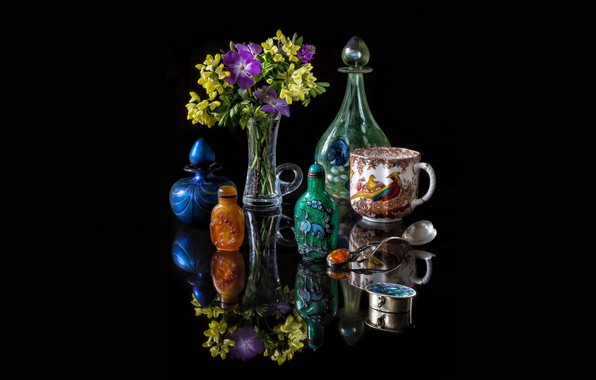 Picture glass, reflection, flowers, silver, mug, vase, black background, still life, picture, a bunch, decanter, amber, ...