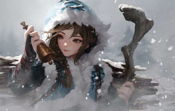 Picture winter, snow, Blizzard, bell, snow, Knife Le In, artyu anime