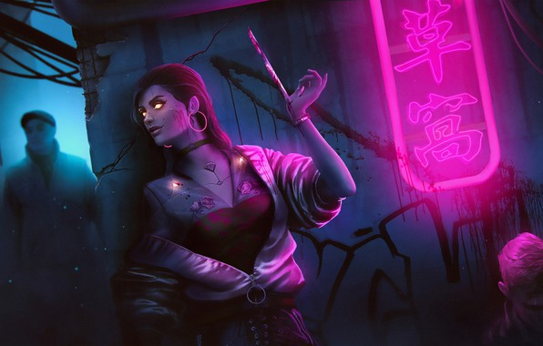 Picture Girl, Figure, Art, Art, Assassin, Fiction, Neon, Illustration, Lane, Blade, Characters, Science Fiction, Cyberpunk, Blade, ...
