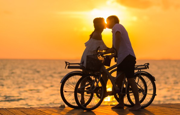 Picture love, sunset, bike, kiss, pair