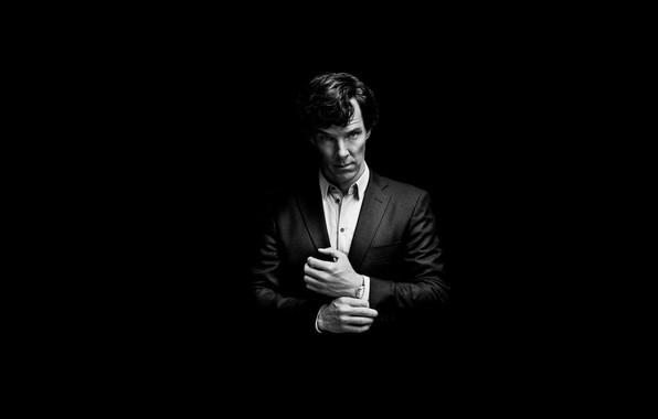 Picture background, minimalism, black background, Benedict Cumberbatch, Benedict Cumberbatch, Sherlock, Sherlock BBC, Sherlock Holmes, Sherlock (TV …