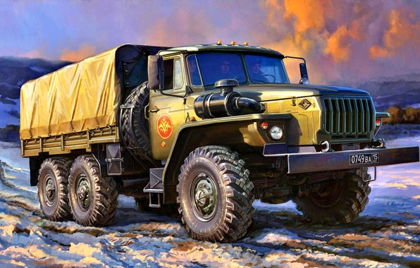 Picture winter, snow, four-wheel drive, side, terrain, Ural-4320, truck, USSR/Russia