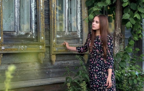 Picture girl, house, Windows, dress, nettle, Anna Sedova