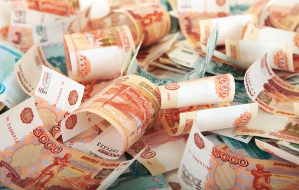 Picture money, rubles, banknotes
