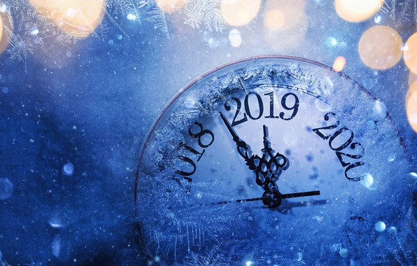 Picture watch, New year, dial, bokeh, 2019