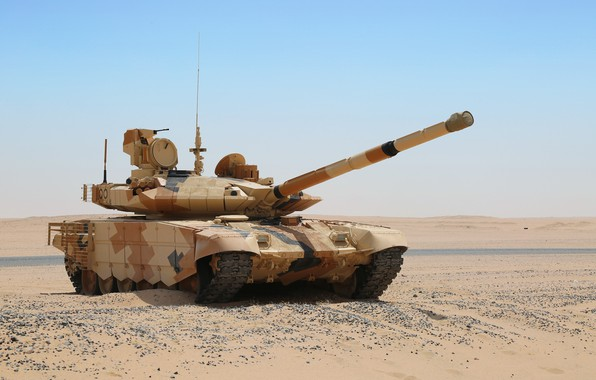 Picture sand, desert, T-90MS, tank of the Russian Federation