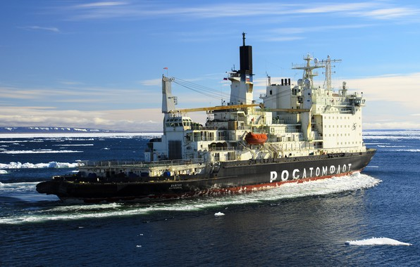"Photo wallpaper The ocean, Sea, Icebreaker, The ship, Russia, Atomflot, Nuclear-powered icebreaker, Rosatom, ""Vaigach"", Vaigach, Icebreaker, Vaygach"