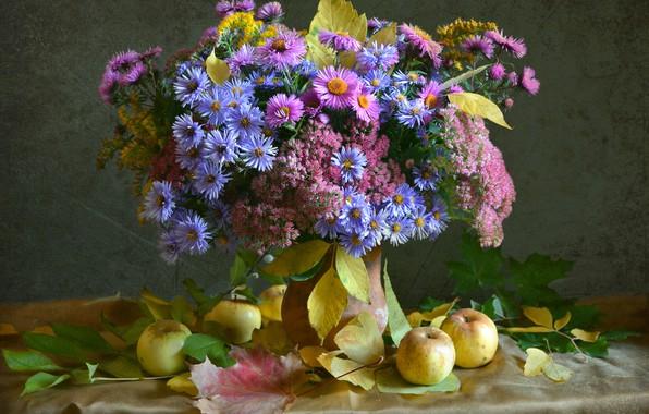 Picture autumn, flowers, apples, bouquet, asters