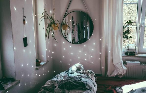Picture flower, light, sofa, ball, mirror