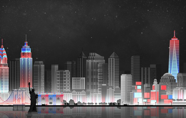 Picture The sky, Minimalism, Night, The city, Art, New York, Digital, Illustration, New-York City, Game Art, ...