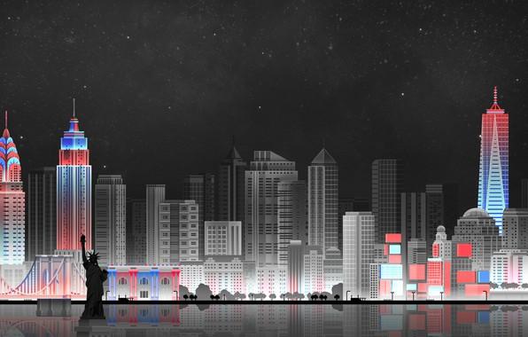 Picture The sky, Minimalism, Night, The city, Art, New York, Digital, Illustration, New-York City, Game Art, …