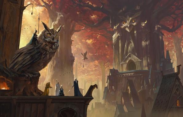 Picture sword, fantasy, forest, armor, weapons, digital art, knights, buildings, artwork, concept art, owl, fantasy art, …