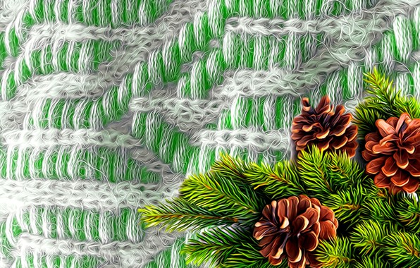 Picture rendering, background, picture, bumps, spruce branch, knitted plaid