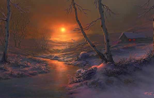 Picture winter, snow, sunset, river, home, the evening, art, birch, Fel-X