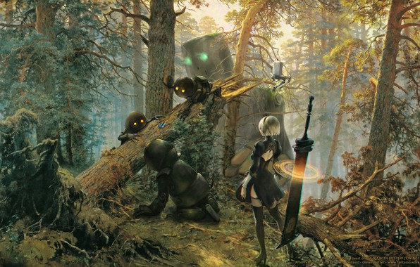 Picture forest, girl, cyborg, art, nier, automata, YoRHa No.2 Type B