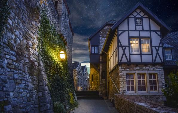 Picture the sky, night, the city, wall, street, home, treatment, stars, lighting, ladder, lantern, digital art, …