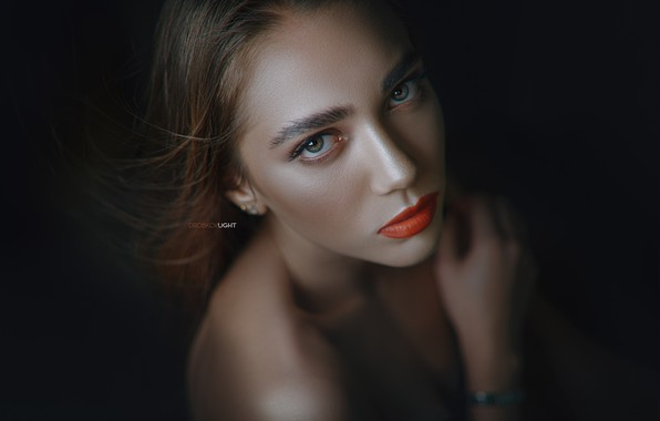 Picture eyes, look, pose, model, portrait, Girl, lips, shoulders, Alexander Drobkov-Light, Angelica Zavarzin
