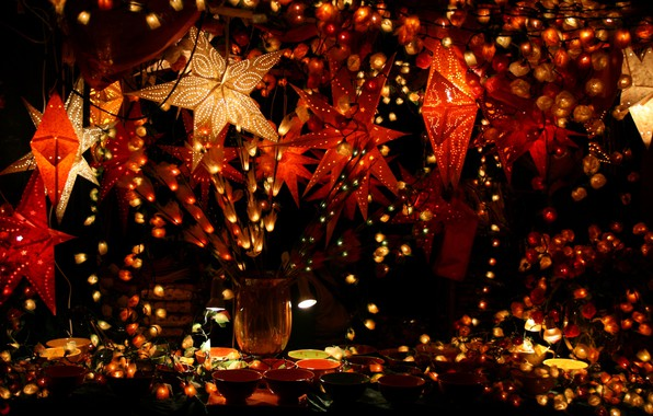 Picture lights, wallpaper, christmas, holidays, beautiful, decoration, decor, garland, glowing, garlands, tableware