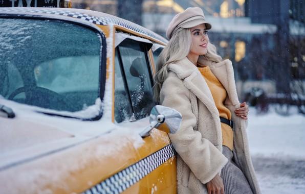 Picture winter, machine, look, girl, snow, smile, blonde, taxi, Olga, Sergey Churnosov