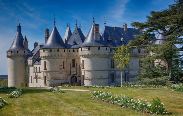 Picture trees, flowers, Park, castle, France, architecture, France, Castle of Chaumont-sur-Loire, The Castle Of Chaumont-Sur-Loire
