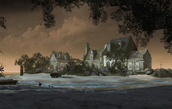 Picture sand, sea, beach, landscape, branches, nature, house, rendering, tree, shore, foliage, boat, mansion, digital art