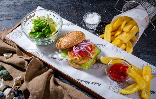 Picture sauce, Burger, potatoes