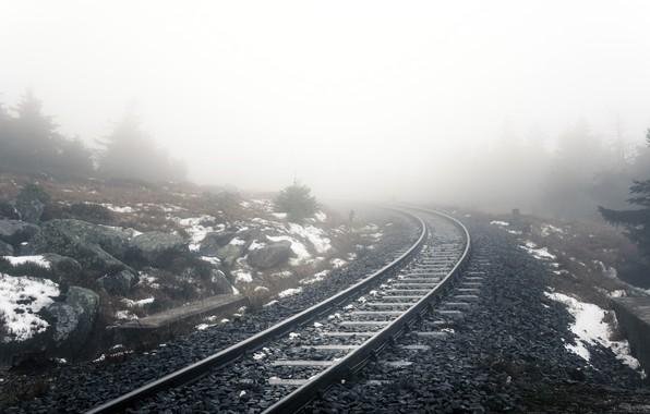 Picture nature, fog, railroad