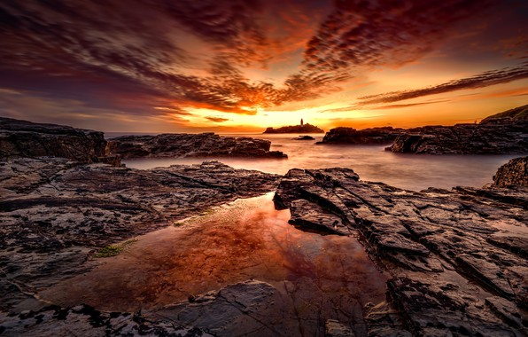 Picture sunset, coast, lighthouse