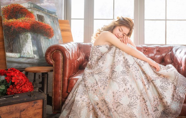 Picture girl, light, flowers, pose, style, room, sofa, bouquet, picture, dress, window, hairstyle, suitcase, brown hair, …