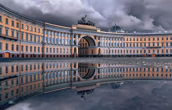 Picture reflection, the building, puddle, Saint Petersburg, arch, Russia, architecture, Palace square, Здание Главного штаба, Тамара …