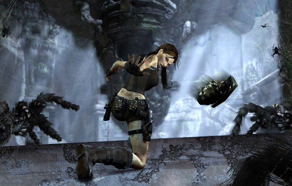 Picture Girl, The game, Web, Weapons, Tomb Raider, Lara Croft, Pomegranate, Spiders