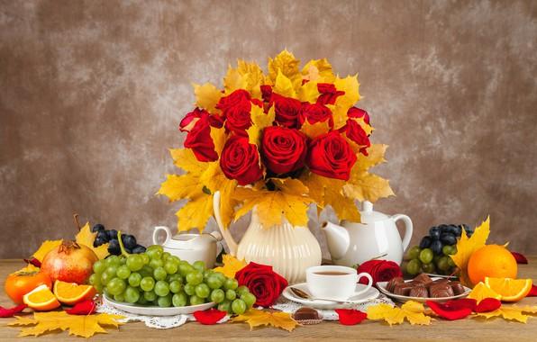 Picture autumn, leaves, bouquet, candy, fruit