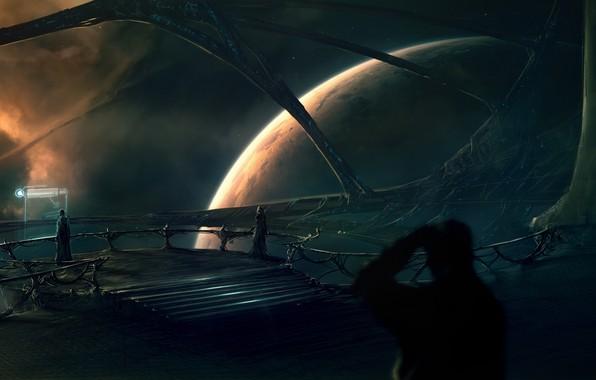 Picture flight, planet, figure, the astronauts, planets, figures, space art, космический арт, светящийся экран, межзвездный корабль, …