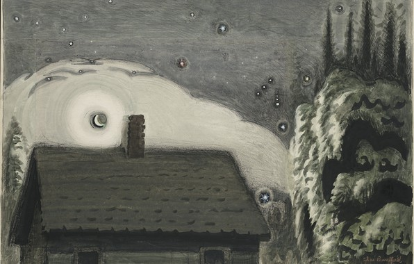 Picture 1917, Charles Ephraim Burchfield, Orion and the Moon