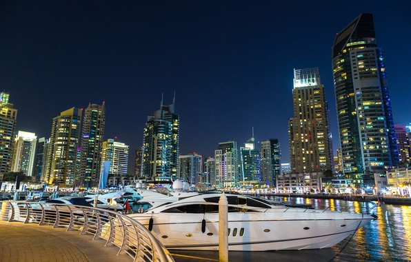 Picture the sky, night, lights, river, building, home, yachts, stars, boats, lights, Dubai, boats, promenade, skyscrapers, …