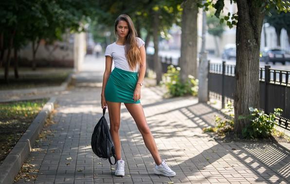 Picture girl, legs, trees, photo, photographer, blue eyes, model, bokeh, brunette, urban, t-shirt, skirt, portrait, sneakers, …