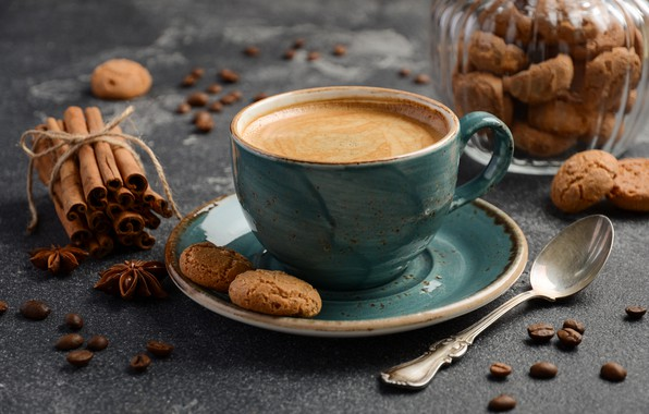 Picture coffee, cookies, cinnamon, spices