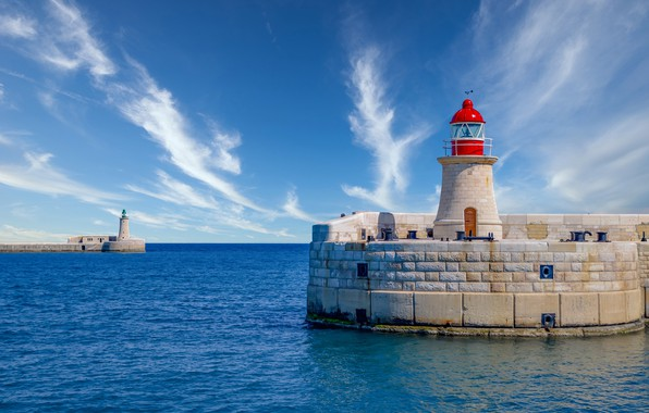 Picture sea, the sky, lighthouse, The Mediterranean sea, Malta, Malta, Valletta, Valletta, Mediterranean Sea, St Elmo …
