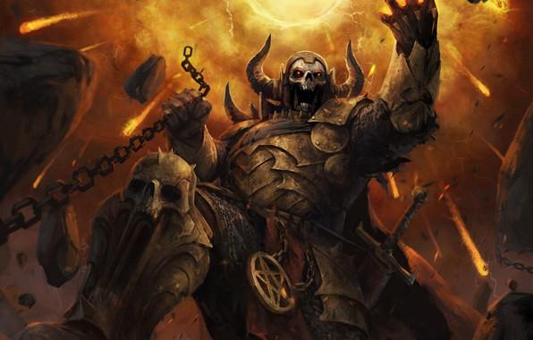 Picture skull, armor, the demon, fantasy, art, chain, horns, demon, art
