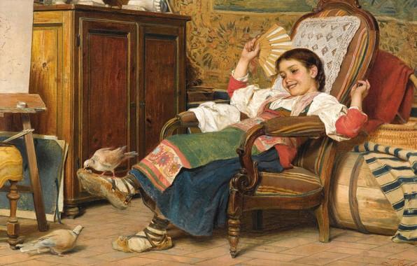 Picture Italian painter, 1919, Italian painter, Luigi Bechi, oil on canvas, Luigi Bečić, The pet doves, …