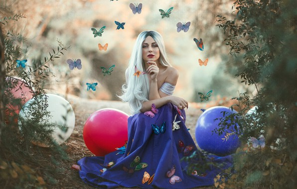 Picture girl, butterfly, balls