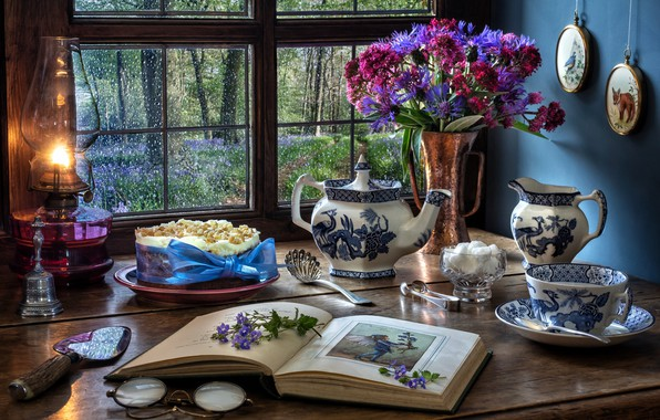 Picture flowers, style, lamp, bouquet, kettle, window, glasses, mug, Cup, cake, sugar, book, cornflowers