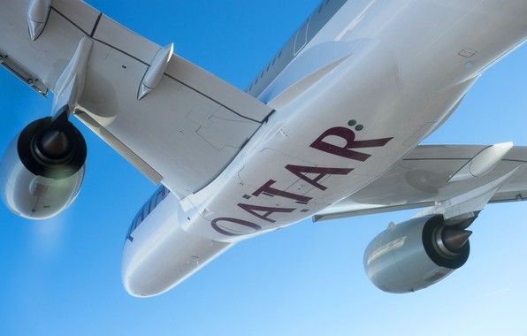 Picture Engine, Airbus, Qatar Airways, Wing, Airbus A350-900, A passenger plane, Airbus A350 XWB