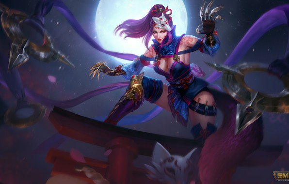 Picture The moon, mask, Claws, Art, Kunai, smite