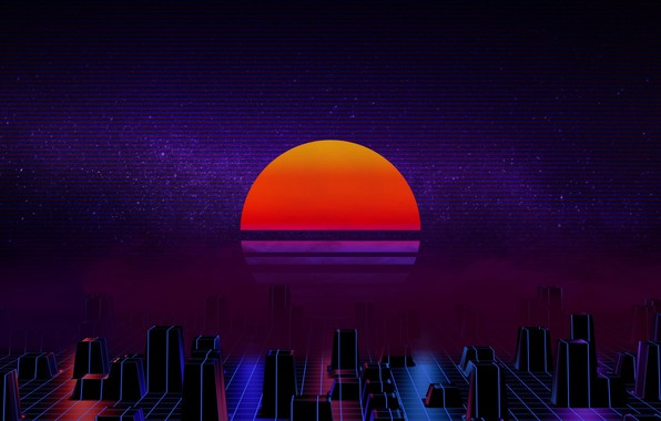Picture The sun, Music, Star, Background, 80s, Neon, 80's, Synth, Retrowave, Synthwave, New Retro Wave, Futuresynth, ...