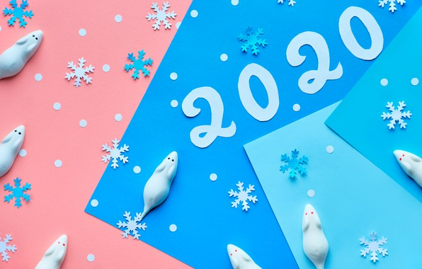 Picture snowflakes, new year, 2020, rat