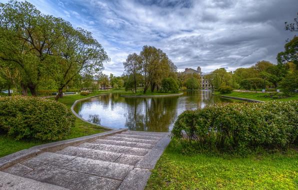 Picture trees, pond, Park, photo, Saint Petersburg, Russia, the bushes