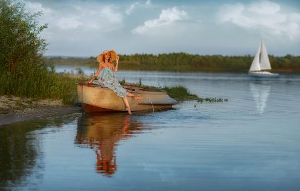 Picture summer, girl, pose, river, boat, hat, Christina, Andrey Metelkov