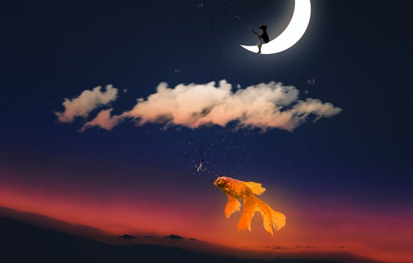 Picture the sky, clouds, sunset, the moon, fishing, fish, stars, a month, boy, fantasy, goldfish, cap, …